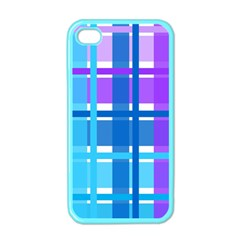 Gingham Pattern Blue Purple Shades Apple Iphone 4 Case (color)