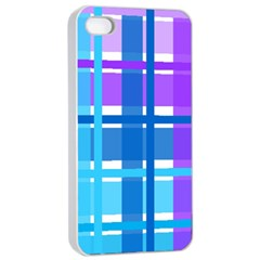 Gingham Pattern Blue Purple Shades Apple Iphone 4/4s Seamless Case (white)