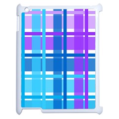 Gingham Pattern Blue Purple Shades Apple Ipad 2 Case (white)