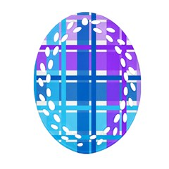 Gingham Pattern Blue Purple Shades Oval Filigree Ornament (two Sides)