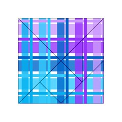 Gingham Pattern Blue Purple Shades Acrylic Tangram Puzzle (4  X 4 )