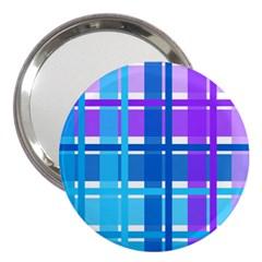 Gingham Pattern Blue Purple Shades 3  Handbag Mirrors