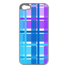 Gingham Pattern Blue Purple Shades Apple Iphone 5 Case (silver)