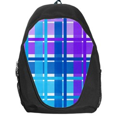 Gingham Pattern Blue Purple Shades Backpack Bag