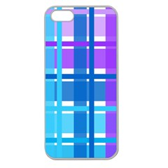 Gingham Pattern Blue Purple Shades Apple Seamless Iphone 5 Case (clear)