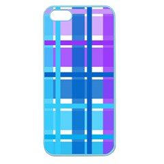 Gingham Pattern Blue Purple Shades Apple Seamless Iphone 5 Case (color)