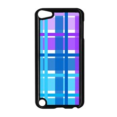 Gingham Pattern Blue Purple Shades Apple Ipod Touch 5 Case (black)