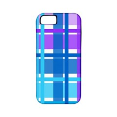 Gingham Pattern Blue Purple Shades Apple Iphone 5 Classic Hardshell Case (pc+silicone)