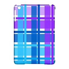Gingham Pattern Blue Purple Shades Apple Ipad Mini Hardshell Case (compatible With Smart Cover)