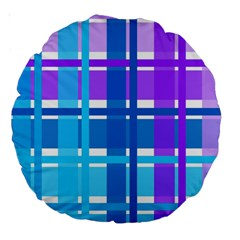 Gingham Pattern Blue Purple Shades Large 18  Premium Round Cushions