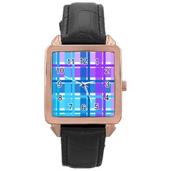 Gingham Pattern Blue Purple Shades Rose Gold Leather Watch