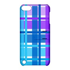 Gingham Pattern Blue Purple Shades Apple Ipod Touch 5 Hardshell Case With Stand
