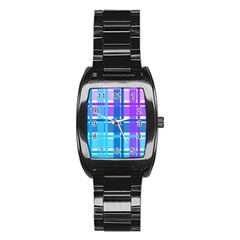 Gingham Pattern Blue Purple Shades Stainless Steel Barrel Watch