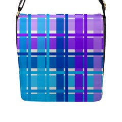 Gingham Pattern Blue Purple Shades Flap Messenger Bag (l)