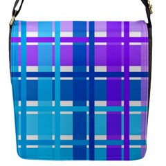 Gingham Pattern Blue Purple Shades Flap Messenger Bag (S)