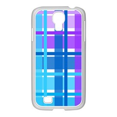 Gingham Pattern Blue Purple Shades Samsung GALAXY S4 I9500/ I9505 Case (White)