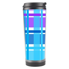 Gingham Pattern Blue Purple Shades Travel Tumbler