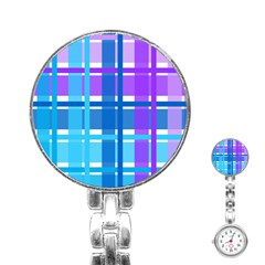 Gingham Pattern Blue Purple Shades Stainless Steel Nurses Watch