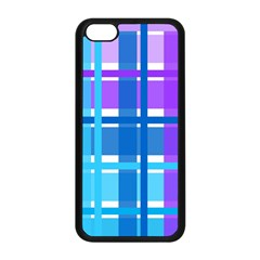 Gingham Pattern Blue Purple Shades Apple iPhone 5C Seamless Case (Black)