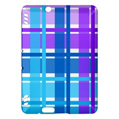 Gingham Pattern Blue Purple Shades Kindle Fire Hdx Hardshell Case