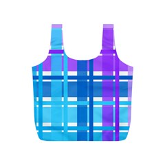 Gingham Pattern Blue Purple Shades Full Print Recycle Bags (s)