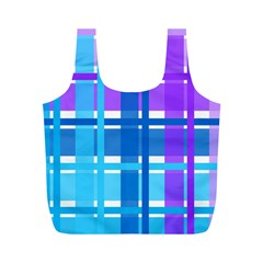 Gingham Pattern Blue Purple Shades Full Print Recycle Bags (m)