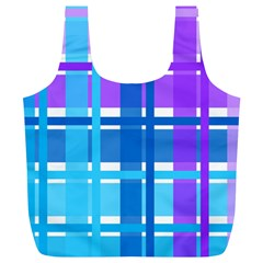 Gingham Pattern Blue Purple Shades Full Print Recycle Bags (l)