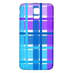 Gingham Pattern Blue Purple Shades Samsung Galaxy S5 Back Case (white)