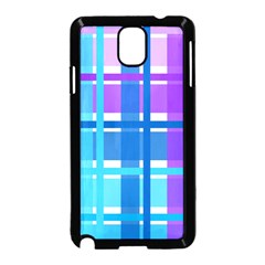 Gingham Pattern Blue Purple Shades Samsung Galaxy Note 3 Neo Hardshell Case (black)