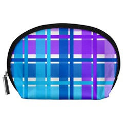 Gingham Pattern Blue Purple Shades Accessory Pouches (large)