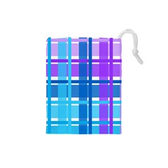 Gingham Pattern Blue Purple Shades Drawstring Pouches (small)