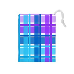Gingham Pattern Blue Purple Shades Drawstring Pouches (medium)