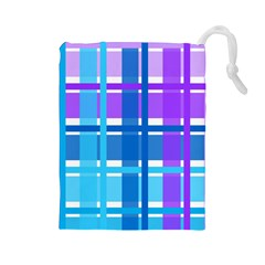 Gingham Pattern Blue Purple Shades Drawstring Pouches (Large)