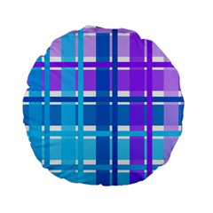 Gingham Pattern Blue Purple Shades Standard 15  Premium Flano Round Cushions