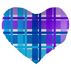 Gingham Pattern Blue Purple Shades Large 19  Premium Flano Heart Shape Cushions