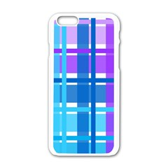Gingham Pattern Blue Purple Shades Apple Iphone 6/6s White Enamel Case