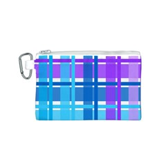 Gingham Pattern Blue Purple Shades Canvas Cosmetic Bag (S)