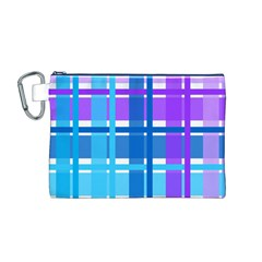 Gingham Pattern Blue Purple Shades Canvas Cosmetic Bag (m)