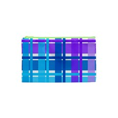 Gingham Pattern Blue Purple Shades Cosmetic Bag (xs)