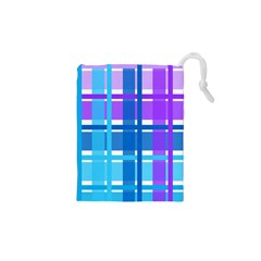 Gingham Pattern Blue Purple Shades Drawstring Pouches (XS)