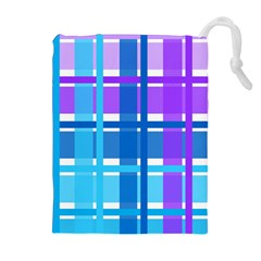 Gingham Pattern Blue Purple Shades Drawstring Pouches (extra Large)