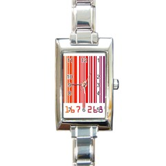 Code Data Digital Register Rectangle Italian Charm Watch