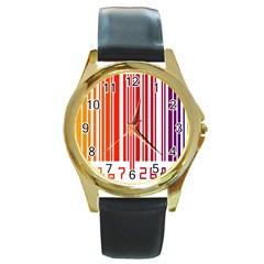Code Data Digital Register Round Gold Metal Watch