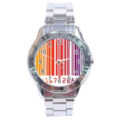 Code Data Digital Register Stainless Steel Analogue Watch