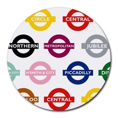 Underground Signs Tube Signs Round Mousepads