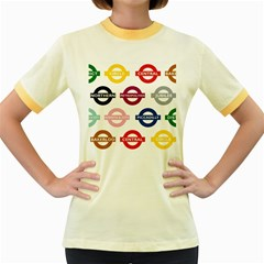 Underground Signs Tube Signs Women s Fitted Ringer T Shirts
