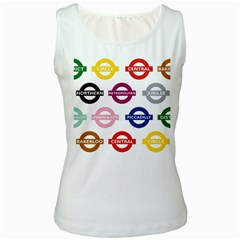 Underground Signs Tube Signs Women s White Tank Top