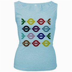 Underground Signs Tube Signs Women s Baby Blue Tank Top
