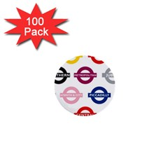 Underground Signs Tube Signs 1  Mini Buttons (100 Pack)