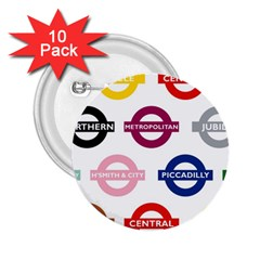 Underground Signs Tube Signs 2.25  Buttons (10 pack)